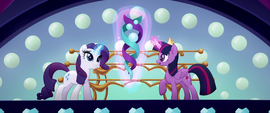 Twilight and Rarity levitate a stage centerpiece MLPTM