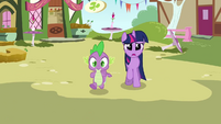Twilight and Spike approaching Pinkie S3E3