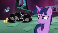 Twilight looks at AJ, Dash, and Cerberus S8E26
