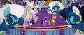 Wonderbolts and Derpy doing aerial choreography MLPTM.png