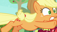Applejack jumping to save Apple Bloom S9E10