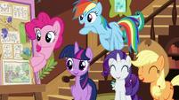 "Main ponies amused by Pinkie's ""Flutterbold"" joke S7E5"