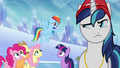 Main ponies and Shining Armor in castle stadium S03E12.png