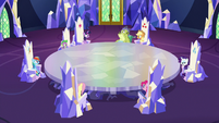 Mane Six, Spike, and Sludge in throne room S8E24