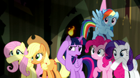 Mane Six shielding their eyes S5E13
