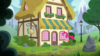 Pinkie bouncing to the bakery supply shop S8E3