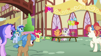 Ponies gather around the Cutie Mark Crusaders S7E21
