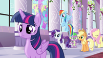 Rest of mane six looking at Pinkie S4E1 (1)