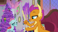 Smolder looks unamused at Ocellus S8E16