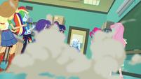 Trixie setting off a smoke bomb EGFF