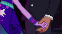Twilight Sparkle holding Timber Spruce's hand EG4