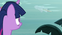 Twilight sees Rainbow's reflection in the water S8E13