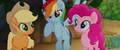AJ, Rainbow, and Pinkie smile at each other MLPTM.png