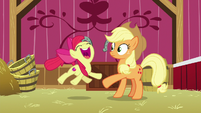 Apple Bloom jumping for joy S9E10