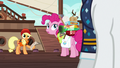 Applejack and Pinkie look back at Rarity S6E22.png