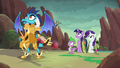 Ember, Spike, Twilight, and Rarity hear dragon's grunt S6E5.png