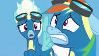 Fleetfoot very surprised; Rainbow Dash mortified S7E7