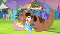 Fluttershy and Rainbow Dash getting licked by Orthros S4E22.png