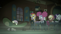 Main five see Fluttershy hiding behind a couch S5E21