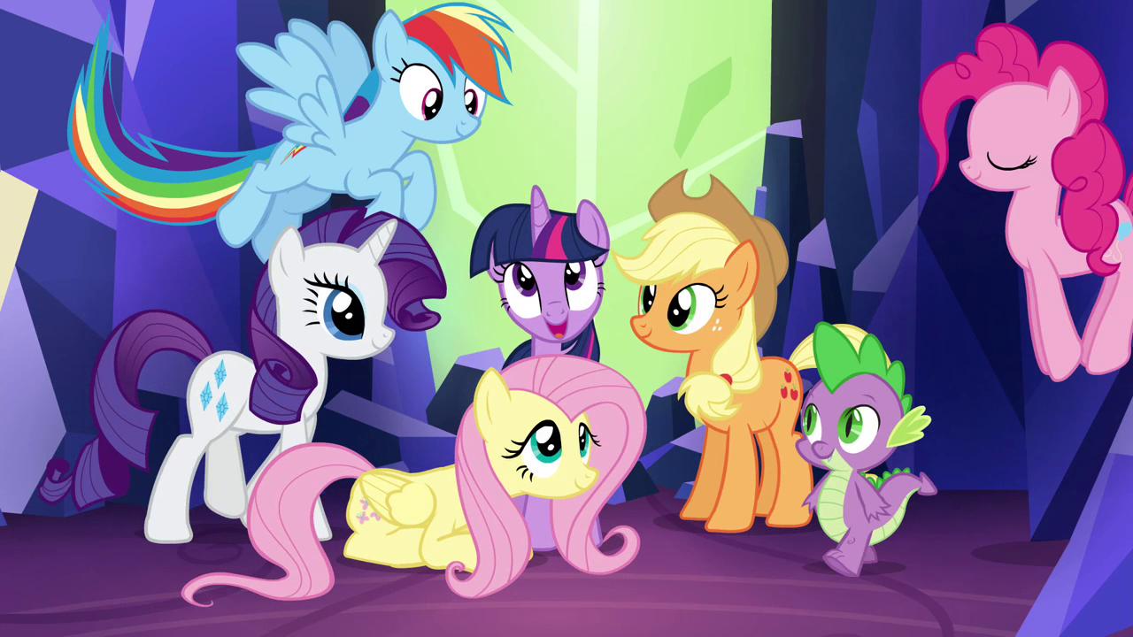 Image - Mane 6 and Spike gather for final shot S4E26.png ...