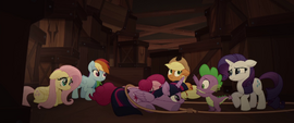 Mane Six and Spike hiding behind ship crates MLPTM