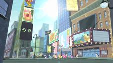 Protagonistas caminando por las calles de Ponyhattan RTP