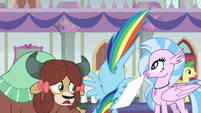 Rainbow Dash picking up Yona's papers S8E9