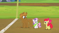 Rarity Sweetie Belle and Apple Bloom end of the race mud S2E5