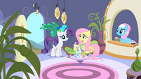 Rarity and Fluttershy arrive at the spa S1E20