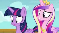 Twilight and Cadance disturbed by princess shirts S7E22