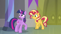 Twilight and Sunset look at Celestia and Luna EGFF