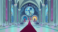 Wide view of Canterlot Castle throne room S9E4