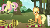AJ and Fluttershy watch Pinkie Pie speed away S7E11