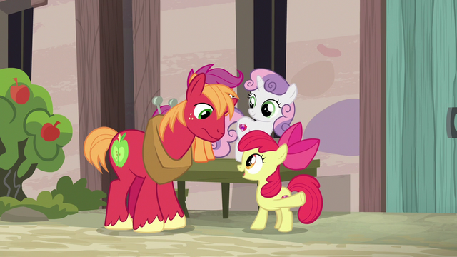 File:Apple Bloom cheering on Big McIntosh S7E8.png