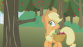 Applejack after bumping into the tree with crossed eyes S1E04.png