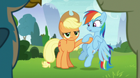 Applejack pushes Rainbow to the side S8E9
