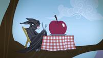 Bat with an apple on a table S4E07