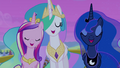 Celestia, Luna, and Cadance singing together S4E25.png