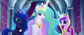 Celestia, Luna, and Cadance with glowing horns MLPTM