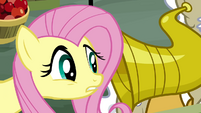 Fluttershy speaking into hearing horn S2E19