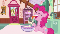 Pinkie Pie licking the cake mixer S9E13