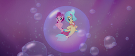 Pinkie and Princess Skystar in a giant bubble MLPTM