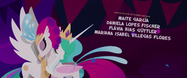 Princess Celestia and Queen Novo nuzzle each other MLPTM