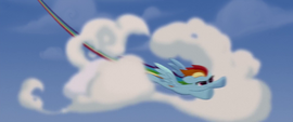 Rainbow Dash busting through clouds MLPTM