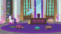 Rainbow Dash looking on Twilight's desk S8E17