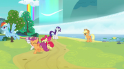 Rainbow and Cutie Mark Crusaders run and fly off S7E16