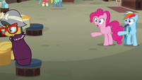 Rainbow and Pinkie spot A. K. at a table S7E18