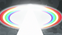 Rainbow of light exploding outward S9E25