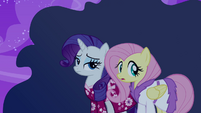 Rarity and Fluttershy don't know what the ruckus is about S2E16