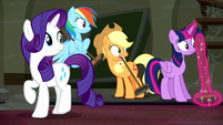 Rarity and friends hear Mr. Stripes S6E9